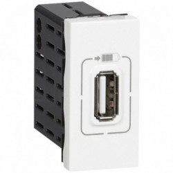 MOSAIC USB POWER SUP 1M - Single USB socket Mosaic - 5 V - 750 mA - 1 module - white